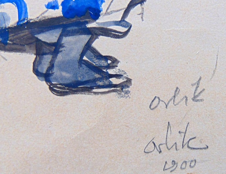 EMIL ORLÍK 1870-1932 Prague 1870 – 1932 Berlin (Czech)  Title: Hokai-bushi, 1900  Technique: Original Hand Signed Watercolour on Wove Paper  Paper size: 20 x 19.3 cm. / 7.9 x 7.6 in.   Additional Information: This watercolour is hand signed twice