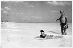 Bahamas - Curd Jürgens and Wife Simone (Bicheron) on the beach, circa 1971.