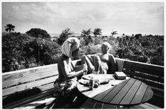 Bahamas-Curd Jürgens and Wife Simone (Bicheron) topless on a terrace, circa 1971