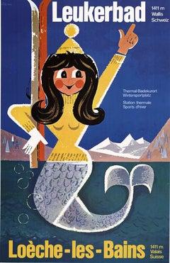 Leukerbad Loche - Les-Bains original Swiss vintage poster