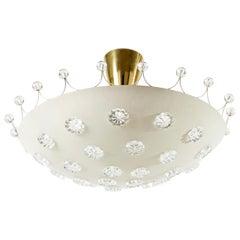 Emil Stejnar Bowl Flush Mount Ceiling Light, Brass Glass, Rupert Nikoll, 1960