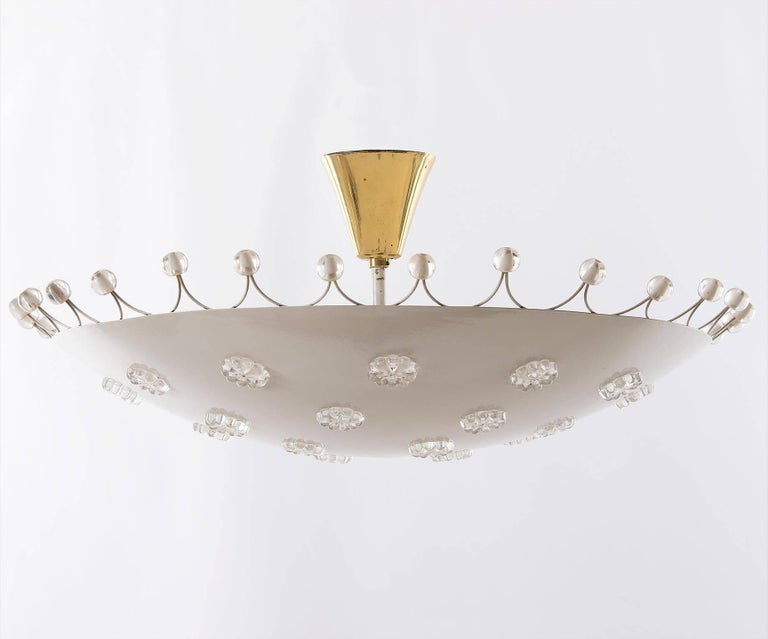 Mid-Century Modern Emil Stejnar Bowl Flush Mount Light Chandelier for Rupert Nikoll, 1950s For Sale