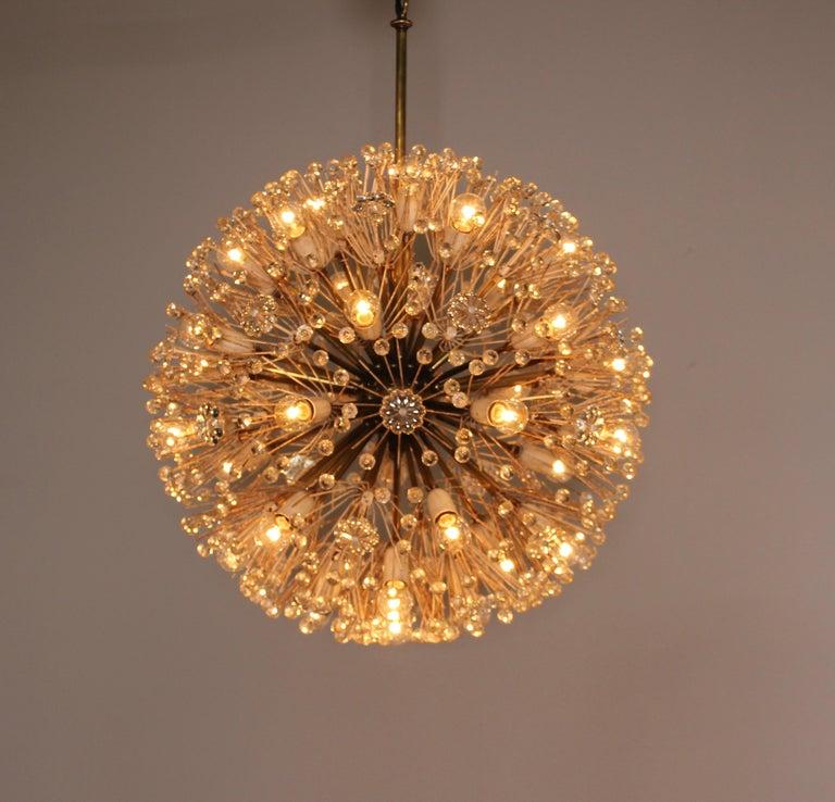 Mid-Century Modern Emil Stejnar Dandelion Sputnik Crystal Chandelier For Sale
