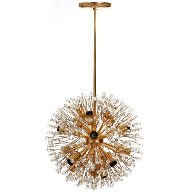 Austrian Emil Stejnar Sputnik Chandelier, Gilt Brass Glass, 1970, One of Three For Sale