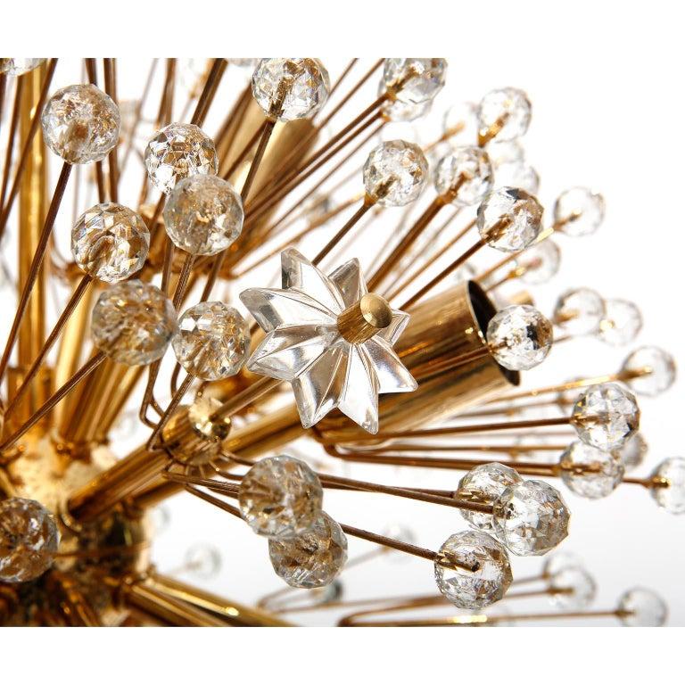 Late 20th Century Emil Stejnar Sputnik Chandelier, Gilt Brass Glass, 1970, One of Three For Sale