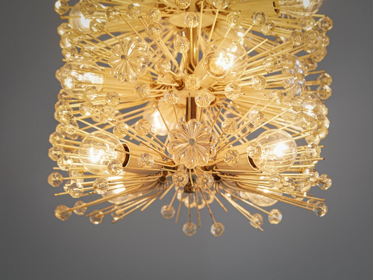 Mid-Century Modern Emil Stjenar for Rupert E. Nikoll Large Chandelier in Glass and Brass For Sale