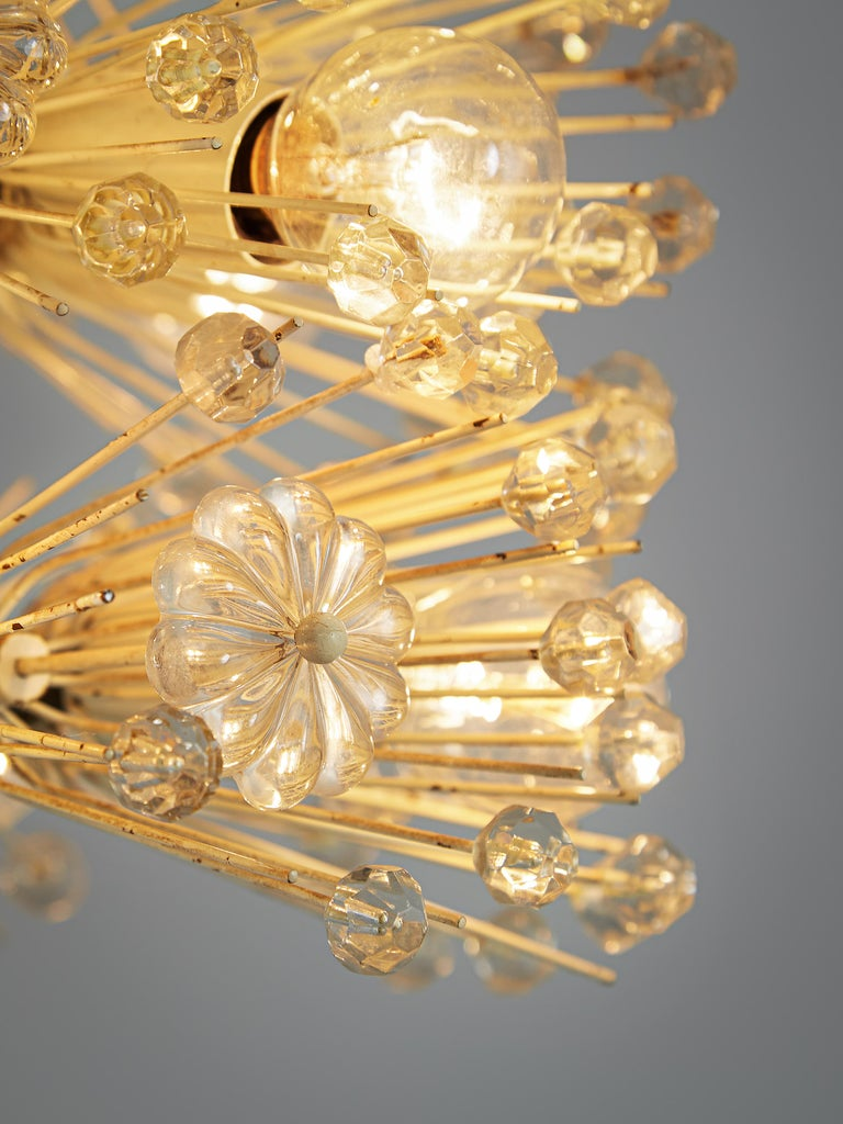 Emil Stjenar for Rupert E. Nikoll Large Chandelier in Glass and Brass In Good Condition For Sale In Waalwijk, NL