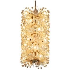 Emil Stjenar for Rupert E. Nikoll Large Chandelier in Glass and Brass