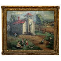 Emil Weddige Framed Signed Oil Painting School House