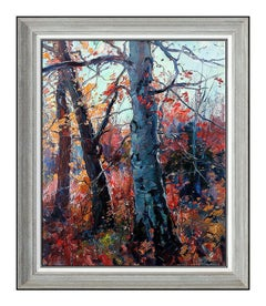 Emile A. Gruppe Oil Painting On Canvas Large New England Tree Landscape Signed