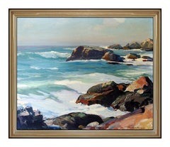EMILE A. GRUPPE Original Oil Painting On Canvas Signed Gloucester Bass Rocks Art