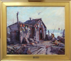 Gloucester Morning, American New England Impressionist Harbor Scene with Figure