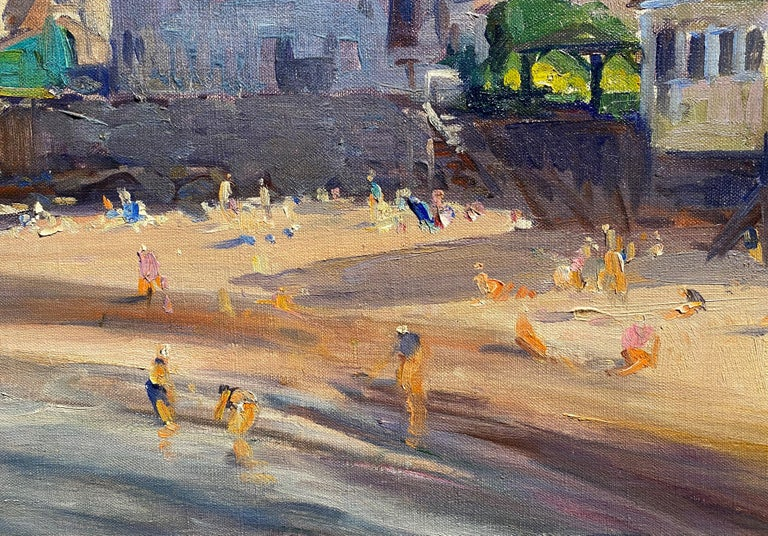 A fine impressionist New England coastal scene of Front Beach in Rockport, Massachusetts on the North Shore & Cape Ann by American artist Emile Albert Gruppe ((1896-1978). Gruppe was born in Rochester, NY, and went on to become a renowned New
