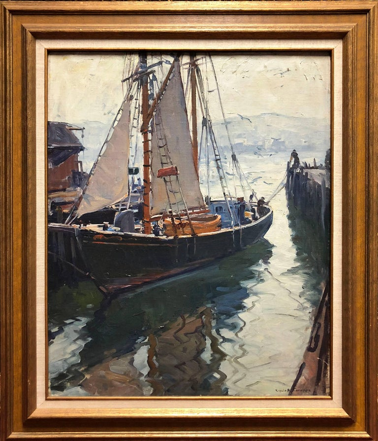 Harbor Reflections - Painting by Emile Albert Gruppe