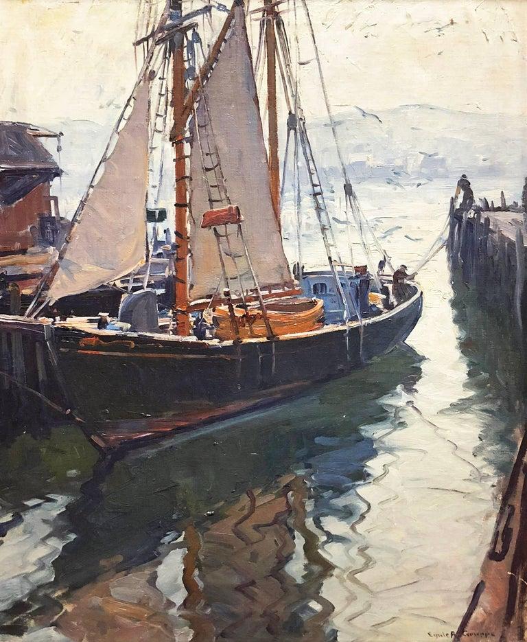 Emile Albert Gruppe Landscape Painting - Harbor Reflections