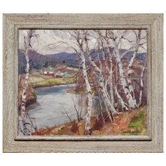 "Emile Albert Gruppe ""Birches"" Oil on Canvas, circa 1950"
