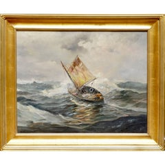 Emile Albert Gruppe Early Painting Sailing in Rough Seas 1930s