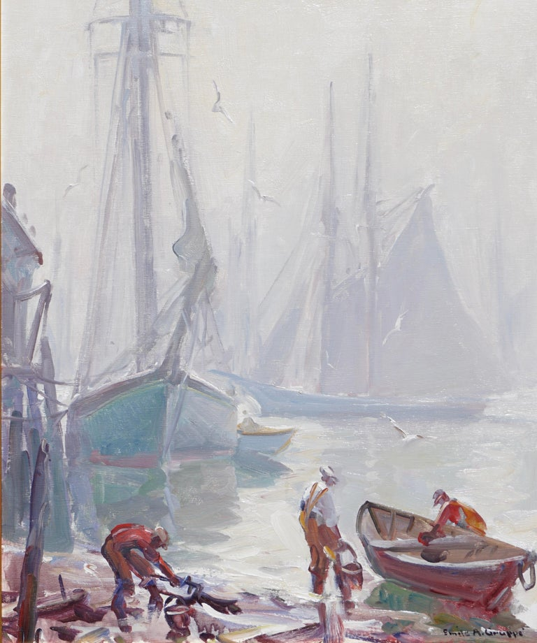 Emile Gruppe (American, 1896-1978), oil on canvas. 30 x 25 inches.  An absolutely amazing post Impressionist painting showing a foggy day in Gloucester Harbor with tall Sailing boats in the background and Fisherman tending to their work in the