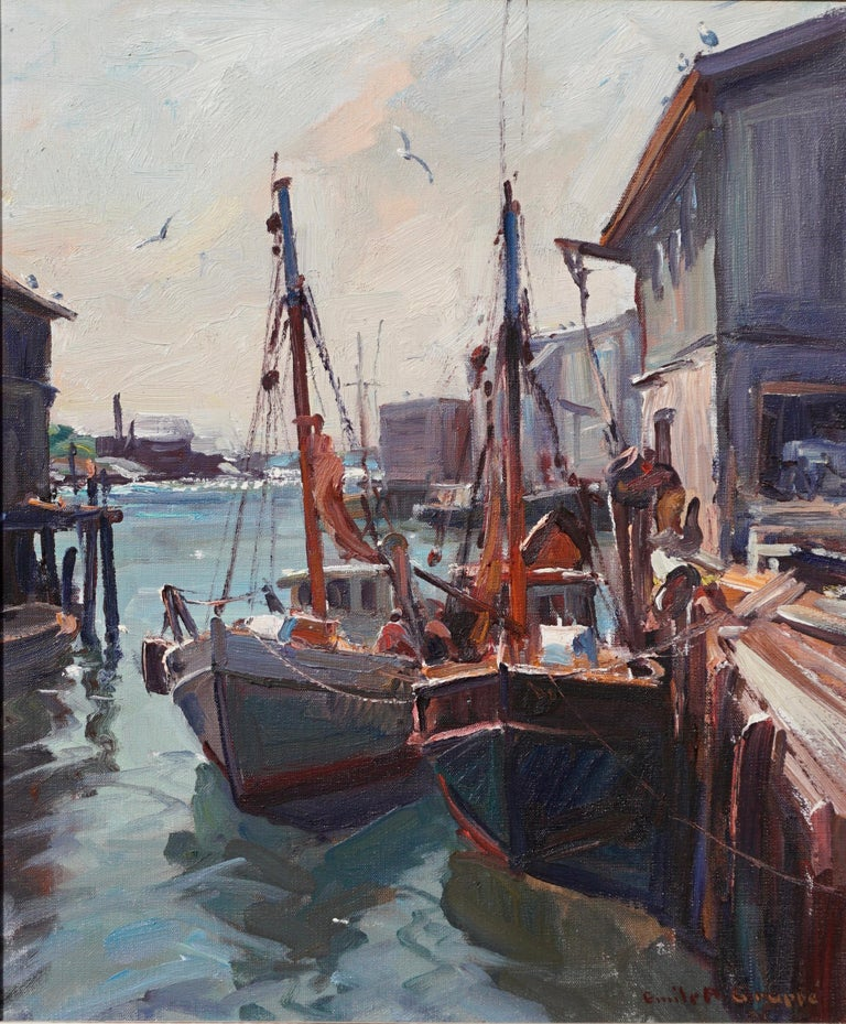 Emile Albert Gruppe (American, 1896-1978) oil on canvas painting, circa 1950 impressionist to Mid-Century Modern style.   For your consideration is this Classic and strong marine port painting by the master himself. Gruppe used a confident execution