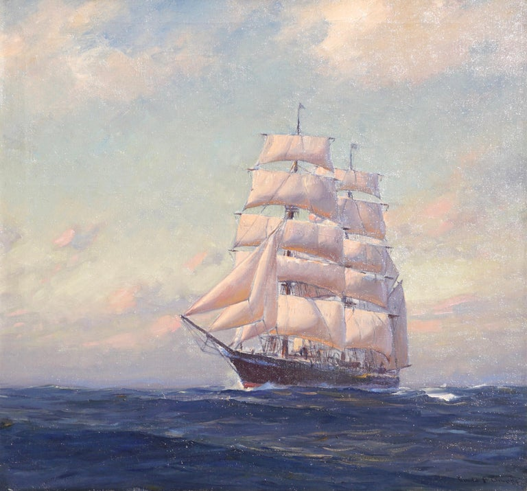 Emile Gruppe (American, 1896-1978)   A monumentally large post Impressionist painting from the 1930s by Emile Gruppe. Emile and his father Charles were very fond of sailboats and on rare occasions took on the big ships with their pallets. This