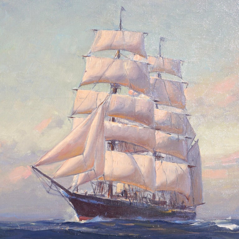 American Emile Albert Gruppe Large Marine Oil Painting For Sale