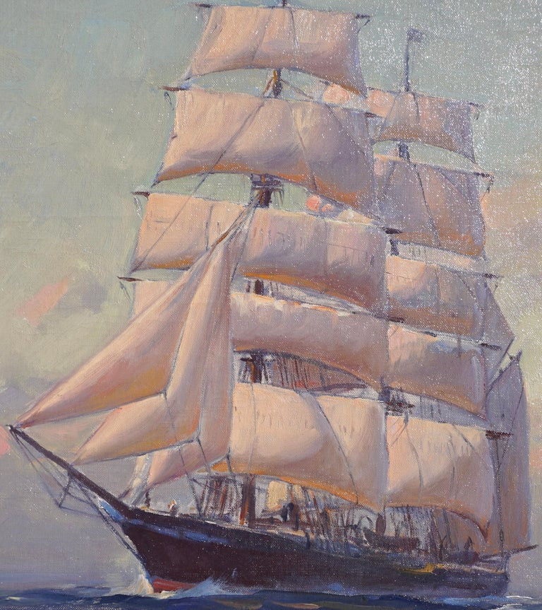 Hand-Painted Emile Albert Gruppe Large Marine Oil Painting For Sale
