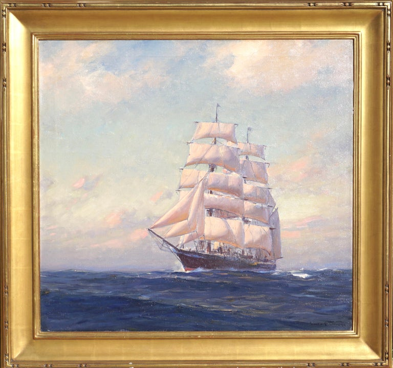 Emile Albert Gruppe Large Marine Oil Painting In Excellent Condition For Sale In Dallas, TX