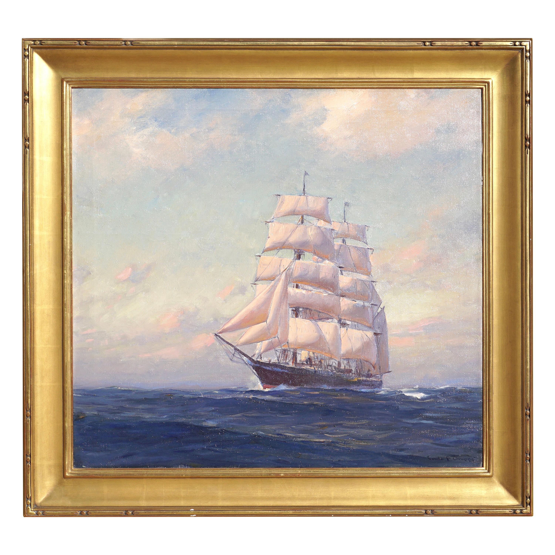 Emile Albert Gruppe Large Marine Oil Painting