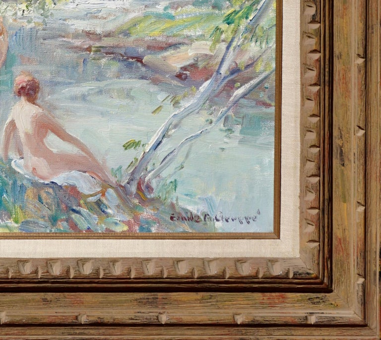 "Mid-Century Modern Emile Albert Gruppe ""Nymphs"" Oil Painting Nudes by a River For Sale"