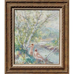 """Emile Albert Gruppe """"Nymphs"""" Oil Painting Nudes by a River"""