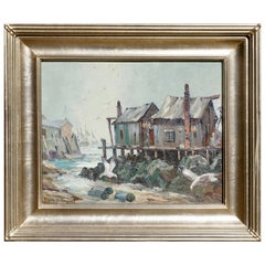 """Emile Albert Gruppe """"Rockport Mass"""" Early Knife Oil Painting"""