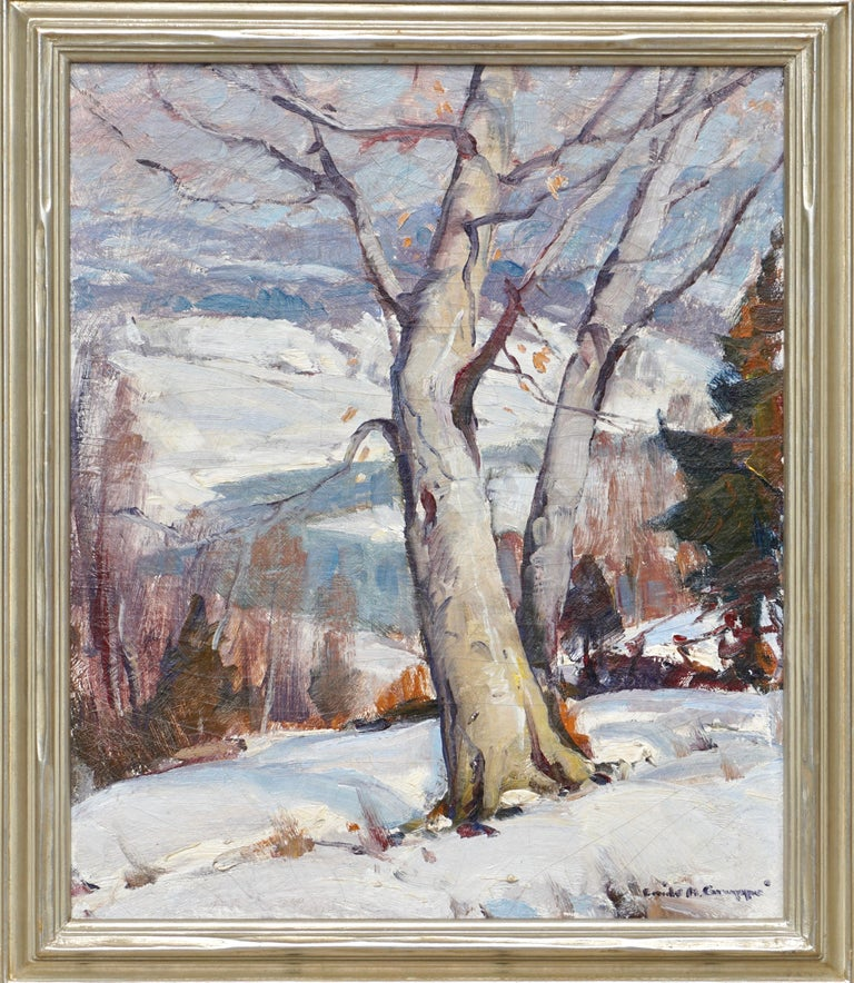Emile Albert Gruppe (American, 1896-1978) Winter Morning, Vermont, Circa 1949  Oil on canvas 24 x 20 inches (61.0 x 50.8 cm)  Original Frame: 27.5 X 23.5 Inches Signed lower right: Emile A. Gruppe Titled on the stretcher: Winter Morning, Vermont