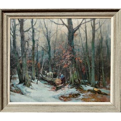 "Emile Albert Gruppe ""Woodcutters"" Oil Painting, circa 1950"