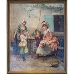 A Fine Painting of Women and Children by Émile Auguste Pinchart