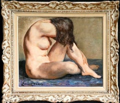 Nude - 20th Century Oil, Seated Nude Brunette Figure in Interior by Emile Baes