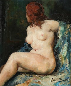 Nude - 20th Century Oil, Seated Nude Redhead Figure in Interior by Emile Baes
