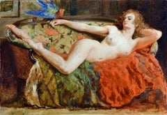 oil painting of an exotic nude lady reclining with a pet parrot