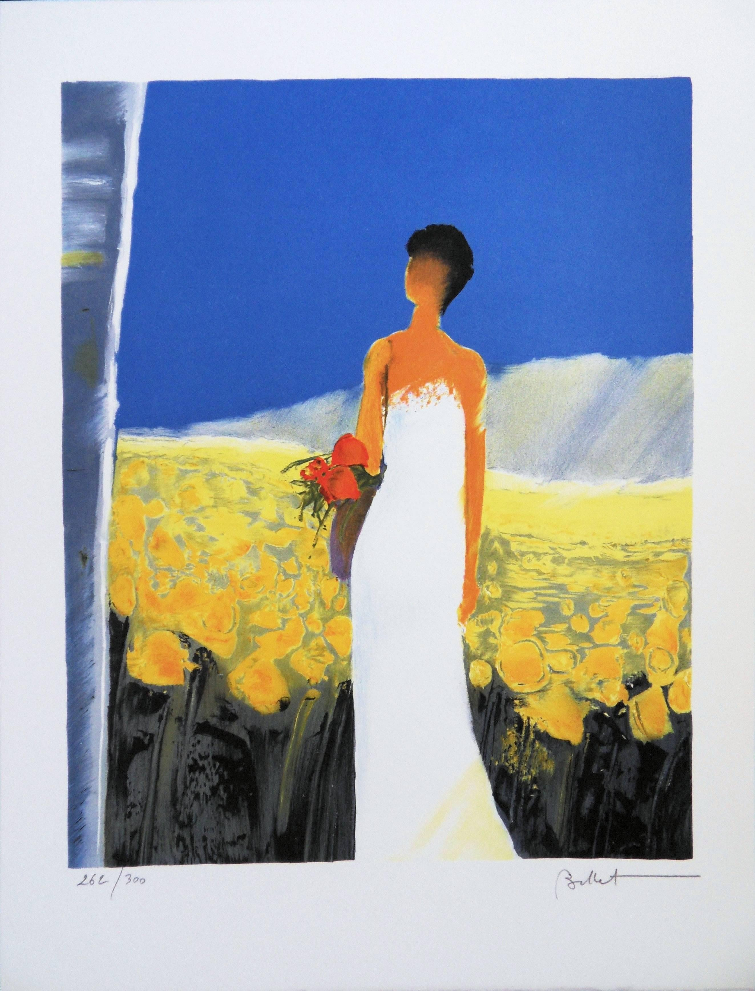 Bride in a Sunflowers Field - Handsigned lithograph