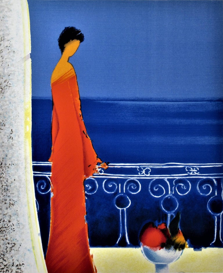 Femme en Rouge (Woman in Red) - Print by Emile Bellet