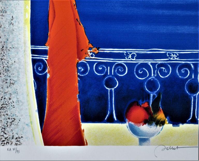 Femme en Rouge (Woman in Red) - Gray Landscape Print by Emile Bellet