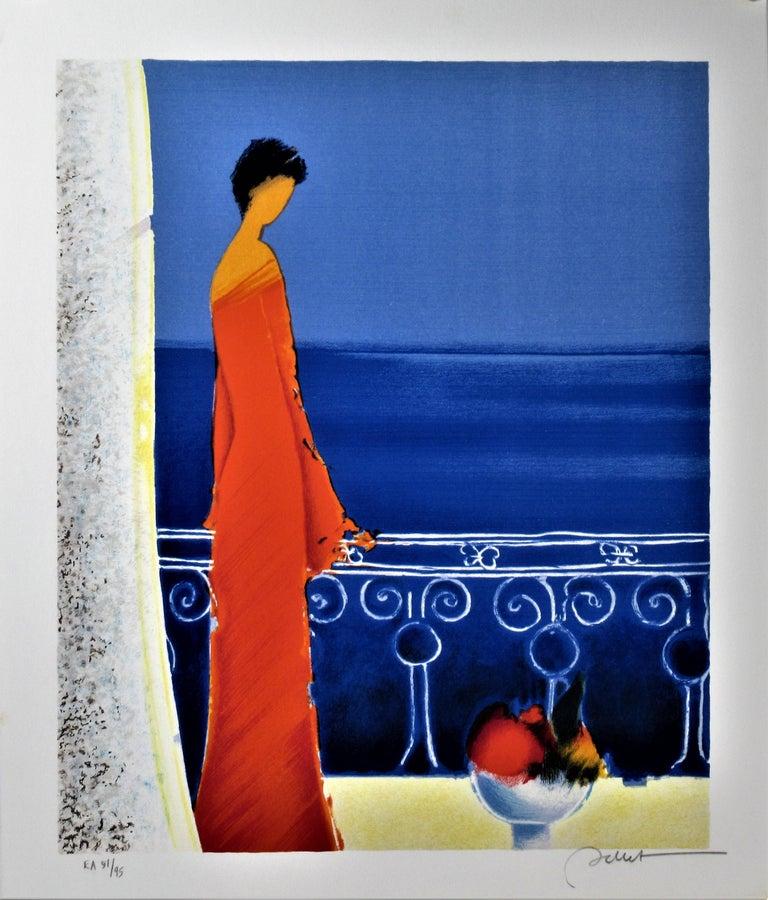 Emile Bellet Landscape Print - Femme en Rouge (Woman in Red)