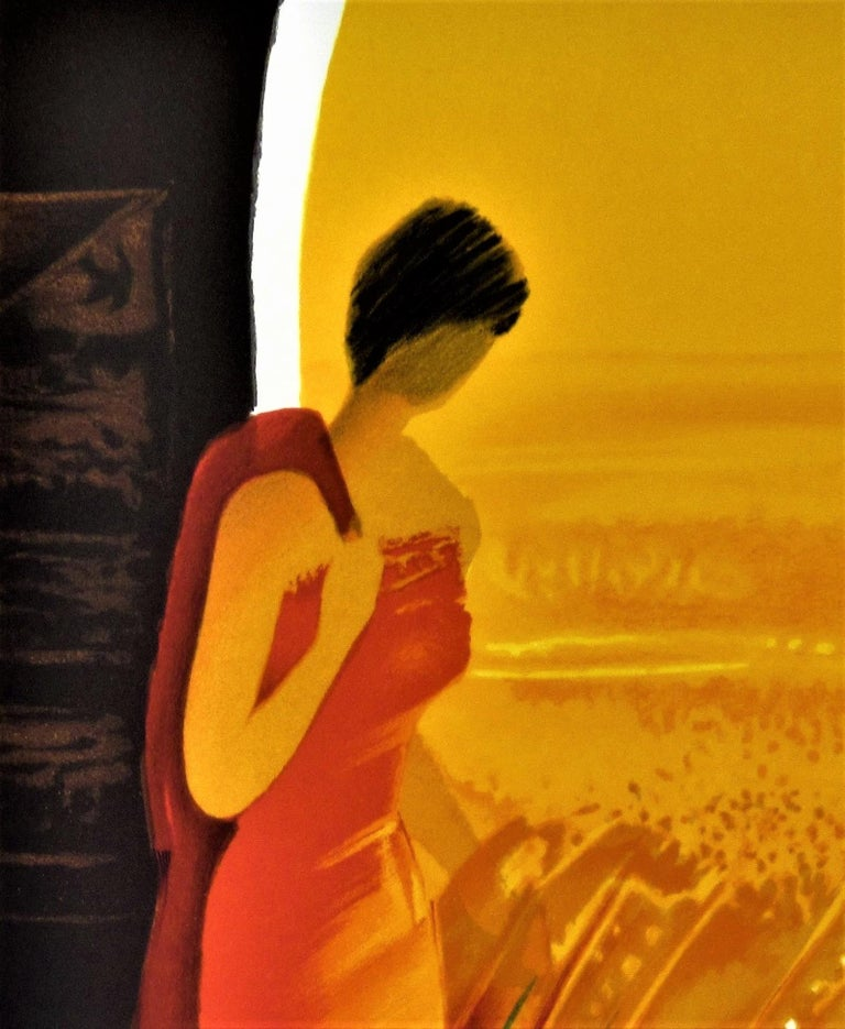 Femme en Rouge (Woman in Red) II - Modern Print by Emile Bellet