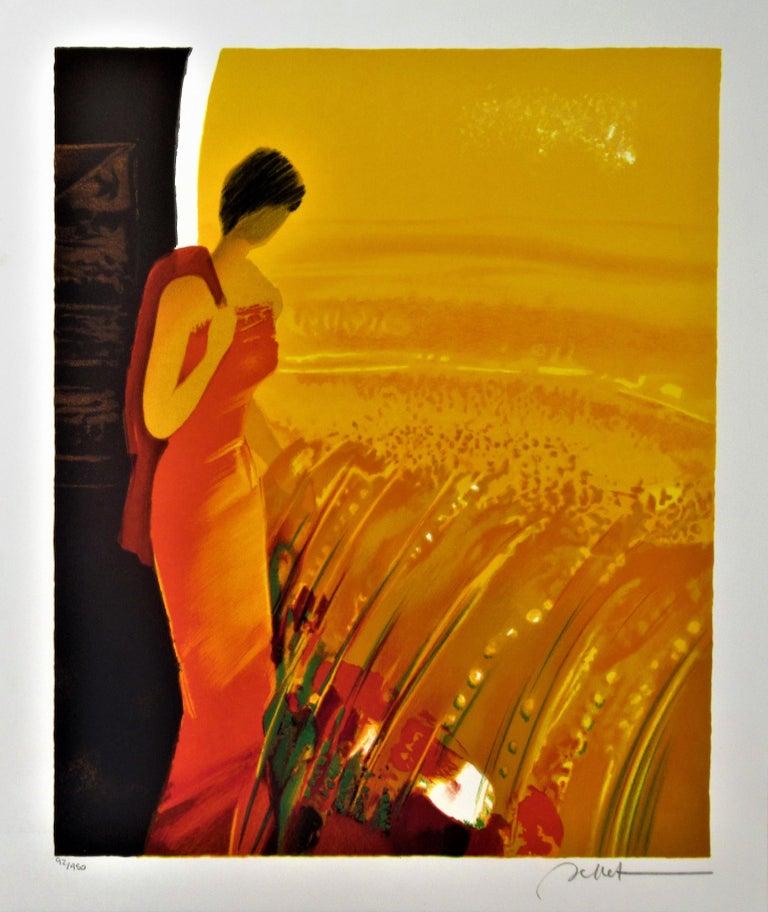 Emile Bellet Landscape Print - Femme en Rouge (Woman in Red) II