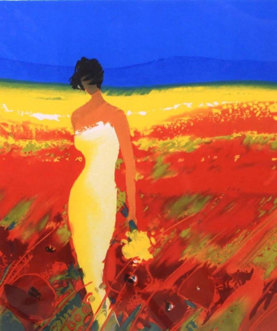 """""""Parmi les Fleurs"""" L. E. Lithograph-Pencil-signed, Personalized on back"""