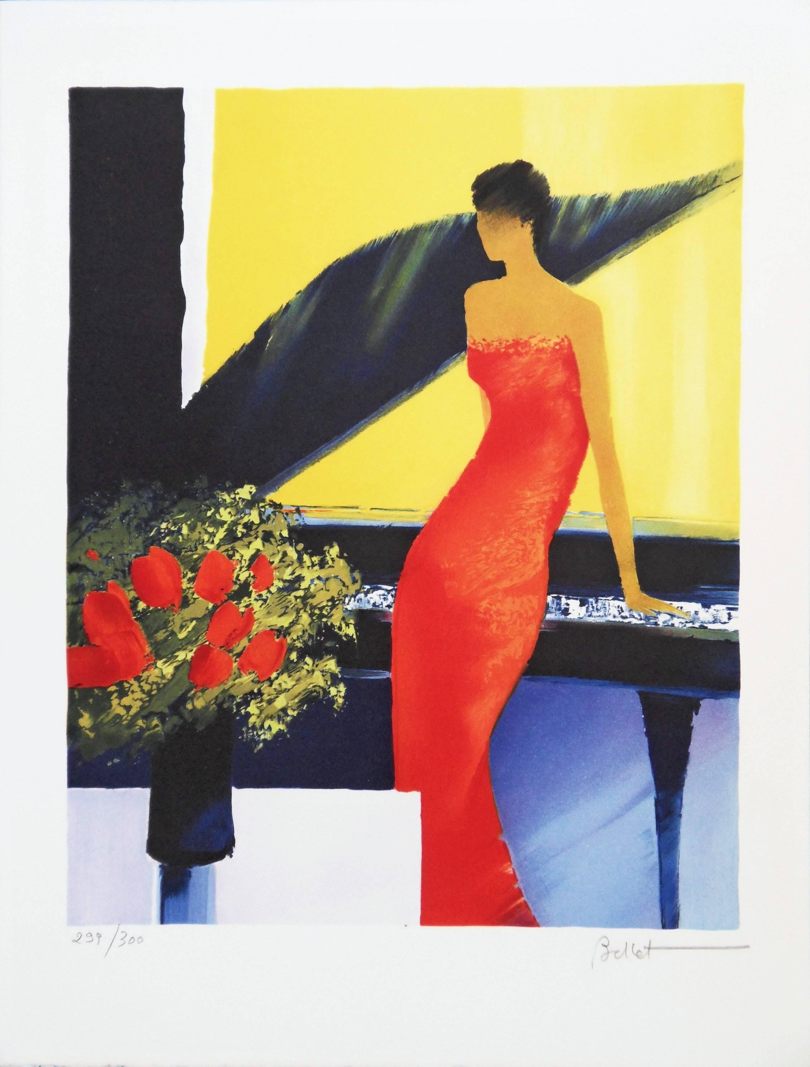 Piano Bar - Handsigned lithograph