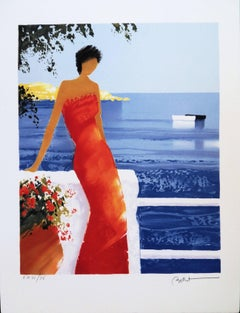 Woman in a Red Dress in Santorini - Handsigned lithograph