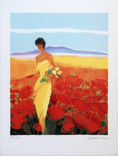 Woman in a Yellow Dress in a Poppies Field - Handsigned lithograph