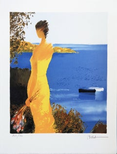 Woman in a Yellow Dress in the French Riviera - Handsigned lithograph