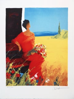 Woman in Red with Bouquet of Wild Flowers - Handsigned lithograph