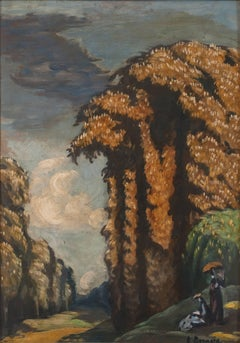 "Emile Bernard ""Paysage of Saint Cloud"" 1931 Oil on Cardboard"